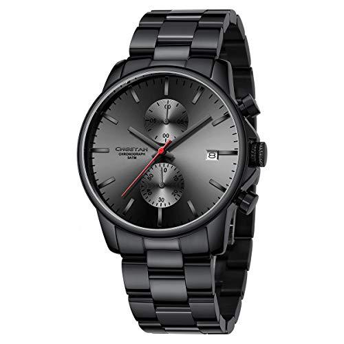 Reloj de Cuarzo con cronógrafo de Acero Inoxidable y Metal, Resistente al Agua, con Fecha automática en manecillas Coloridas (Negro Rojo)