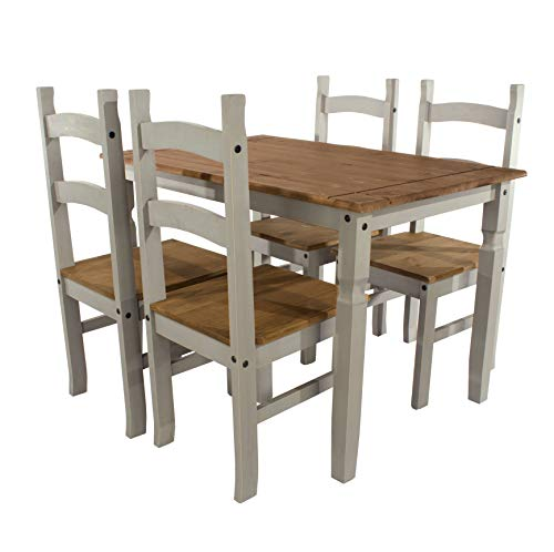 Home Source Set with Grey Rectangle Table & 4 Matching Dining Chairs, Solid Waxed Pine