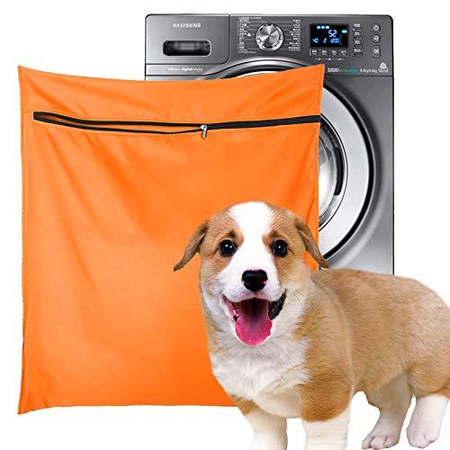 Bolsa de lavandería para mascotas, filtros azules para el pelo de mascotas, bolsa de lavado para lavadora con cremallera YKK para ropa de cama de mascotas, mantas de toallas (Jumbo, naranja)