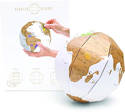 CooCu DIY 3D Scratch Off World Globe, Personal Foldable Globe, Personalized Globe Puzzle, Best Geographical Gift for Child and Trip Planners Mark You Travel Journey