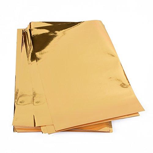 25 Blatt Metallic Papier, Goldfolienpapier, Goldfolie, glänzendes Goldpapier für Bastelarbeiten zum Bekleben verschiedener Dinge wie Grußkarten etc, DIN A4