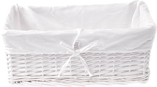 ZOHULA - Cesta de Mimbre Blanca con Forro de algodón Natural (tamaño Grande)