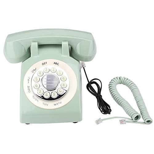Weikeya Teléfono de Inicio Tradicional, Sistema de teléfono inalámbrico Verde Retro Mira el número de Soporte Teléfono de teléfono Fijo con ABS