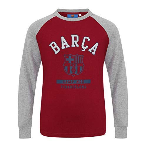 FC Barcelona Official Gift Kids Crest Long Sleeve T-Shirt Red 12-13 Years