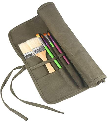 AMGOMH Estuche Pinceles 22 Ranuras Enrollable Organizadores de Brochas Bolsa de Pincel para Lápiz Pinceles de Pintura, Pinceles óleo, Pinceles Acuarelas, Pinceles Acrilico (Verde del Ejército)