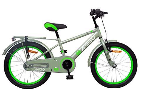 Amigo Sports - Bicicleta Infantil de 18 Pulgadas - para niños de 5 a 8 años - con V-Brake, Freno de Retroceso, Timbre, estándar e iluminación - Verde Oliva