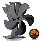 Heat Powered Stove Fan, SPBPQY Fireplace fan with Designed Silent Operation, Circulating Warm Air Saving Fuel Efficiently, for Wood/Log Burner/Fireplace, 5-Blade