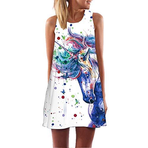 CYPZ Home Nachthemd Kleid Lässige Frau Sommer Ärmelloser Rock 3D Farbe Einhorn Beachwear-XL