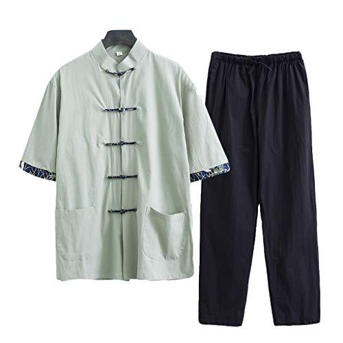 ZHOUXIAO Luźny mundurek Tai Chi męska odzież kung fu z długim rękawem chińskie tradycyjne ubrania, duży rozmiar Tang garnitur spodnie Hanfu kurtki sztuki walki garnitur zielony - 8XL