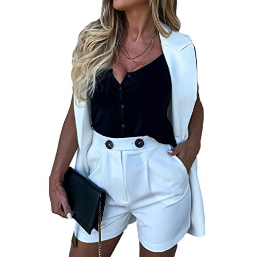 Yying Work OL Suit Blazer+Shorts Trajes Set Turn Down Collar Chaleco y Pantalones Cortos Mujeres Chic Suit Office Sets 2Piezas Conjuntos
