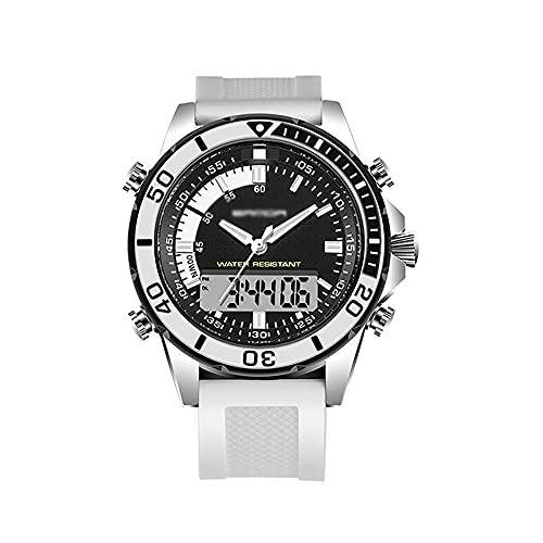 N&I Reloj deportivo para hombre, multifunción, con tres agujas, pantalla dual, luz fría, resistente al agua, puntero y pantalla digital F (color B)