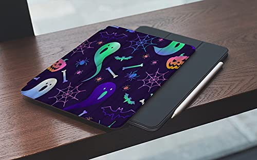MEMETARO Funda para iPad 10.2 Pulgadas,2019/2020 Modelo, 7ª / 8ª generación,Diseño de Dibujos Animados Calabaza de Halloween Fantasma Araña Smart Leather Stand Cover with Auto Wake/Sleep