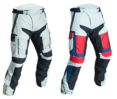 WinNet Pantaloni da moto in cordura 4 stagioni per turismo con protezioni omologate di secondo livello (XL, NERO)