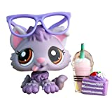 Samll Pet Shop lps Husky 1752, lps Husky Dog Purple with Brown Eyes with lps Accessories Kids Gift