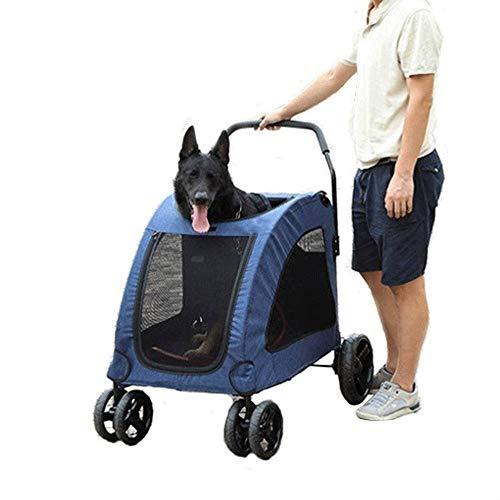 Bdesign Perro Cochecito, de Cuatro Ruedas del Cochecito de niño Plegables for Perros carros Los cochecitos for Mascotas en Mediano Grande Perros Que viajan - Azul, for 15-55Kg
