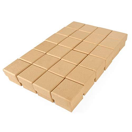 ewtshop® Kraftpapier-Geschenkboxen, 24 Stück, Größe: 4,5 x 4,5 x 4 cm, Mini-Geschenkboxen, Schmuckbox