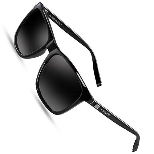 Sunmeet Sonnenbrille Herren Polarisierte für Männer Jahrgang Retro Sonnenbrille Herren Unisex UV400 S1001(Schwarz/Schwarz)