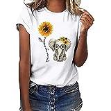Mujer Verano Camisetas Originales Casual Basicas Camiseta de Manga Corta para Mujer con Estampado de Girasol Camiseta con Impresa de Elefante bebé