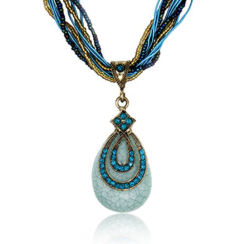 LNKRE JEWELRY Fashion Women's Bohemia Vintage National Style Cat's Eye Stone Peacock Chain Necklace Pendant(Blue)
