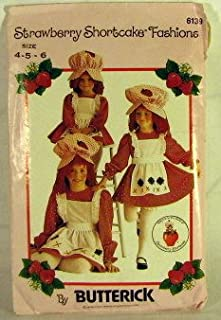 Girls Strawberry Shortcake Costume Butterick 6139 Vintage 1983 Sewing Pattern Size 4 - 5 - 6
