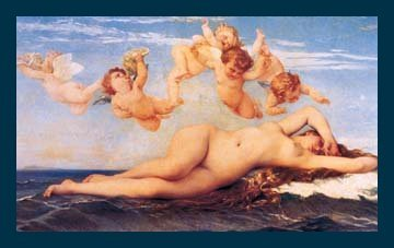 Bild mit Rahmen Alexandre Cabanel - Naissance de Venus - Digitaldruck - Holz blau, 95 x 60cm - Premiumqualität - Engel, Putten, Venus, Akt, Erotik, nackt, Geburt der Venus, Symbolismus, Klassiker, lasziv, Maler.. - MADE IN GERMANY - ART-GALERIE-SHOPde