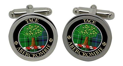 Abercrombie Clan escocés con el escudo del cromado para hombre Gemelos con...