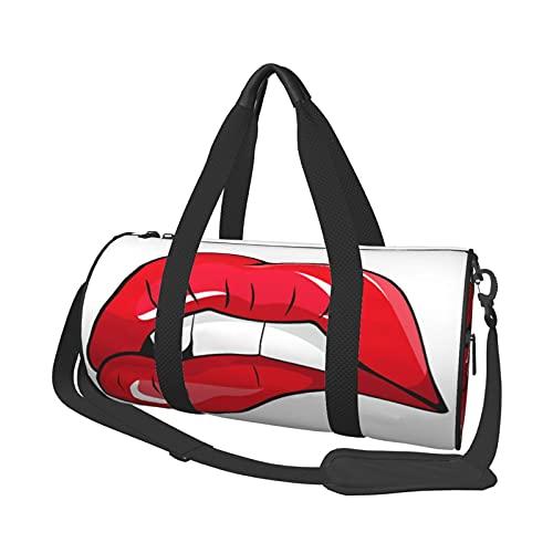 MBNGDDS - Borsone da viaggio con labbra rosse, leggero, pieghevole, impermeabile, con tracolla, per sport e palestra, per uomini e donne, Come mostrato, Taglia unica,