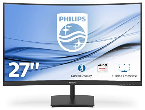 Philips Monitor Gaming 271E1SCA Monitor, Adaptive Sync 75 Hz, VA LED 27', FHD, 4 ms, HDMI, VGA, Casse Integrate, Flicker Free, Low Blue Light, VESA, Nero