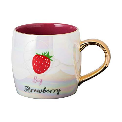 CXL Taza de cerámica perlada Colorida Strawberry, con Tapa y Cuchara con Taza de glaseado de Perlas, Adecuada para la Oficina en el hogar