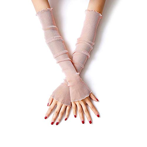 Bocotoer Kant Arm Mouwen Koeling Elastische Skin Cover Vrouwen Zonbescherming Vingerloze Handschoenen Poeder