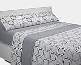 Sabanalia - juego de sábanas franela spring (disponible en varios tamaños y colores), cama 90, gris