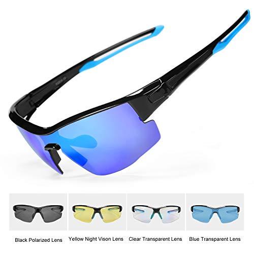 INBIKE Gafas Sol Polarizadas Ciclismo con 5 Lentes De Pc Intercambiables y Montura De TR90, Gafas Uv400 De MTB Bicicleta Deportivas Antivaho Unisex-Adulto(Armadura Azul Negro + Lente Azul)