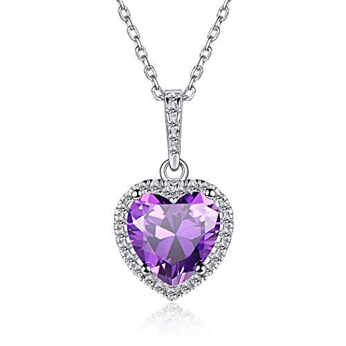 Plata de Ley 925 Collar Corazón/Redondo Piedras Nacimiento para Cumpleaños Colgante Romántico para Mujeres 12 Meses Zirconia Cúbica Joyería Preciosa para Valentín