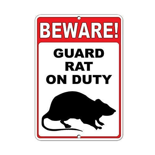 Warning Sign Beware! Guard Rat On Duty Funny Quote Road Sign Business Sign 12X16 Inches Aluminum Metal Tin Sign