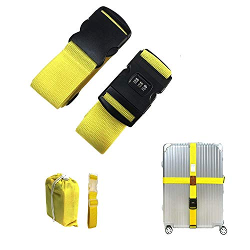 CHMETE 2Pcs Long Cross Lock Luggage Strap Suitcase Travel Belt for 16'-32' Suitcase Yellow