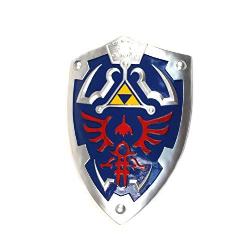 WUUJAU Legend of Zelda Link Master Sword of Time Twilight Princess Replica Sword Standard (Full Size Link Hylian Zelda Shield with Grip & Handle)