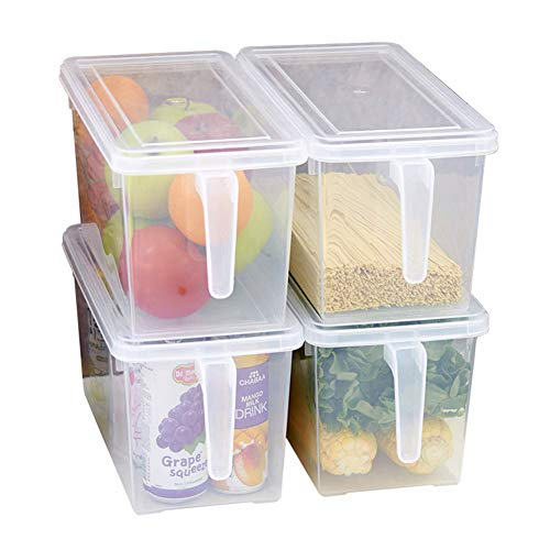 MineDecor Plastic Storage Containers Square Food Storage Organizer Stackable Refrigerator Organizer Handle Kitchen Containers with Lids for Fruits Vegetables Meat Egg (Set of 4)