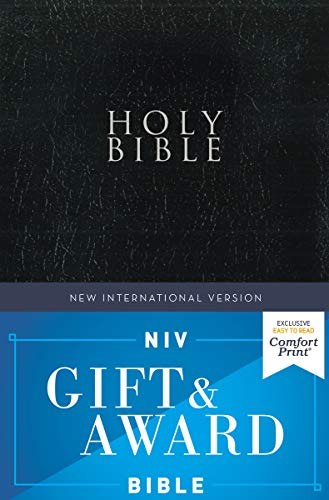 NIV, Gift and Award Bible, Leather-Look, Black, Red Letter, Comfort Print