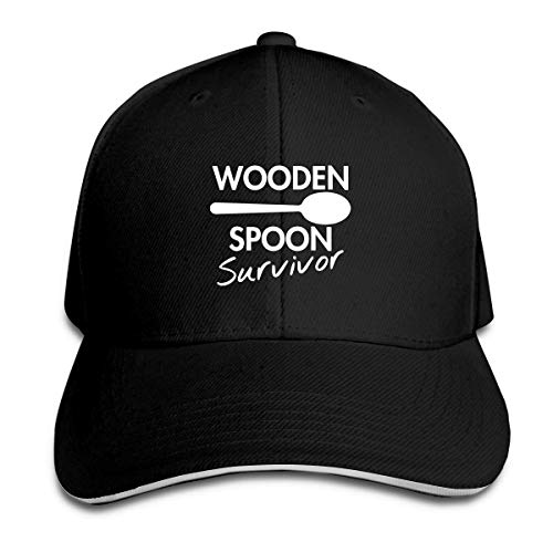 fudin Wooden Spoon Survivor Adult Baseball Cap Headdress Sandwich Hat Unisex Adjustable Baseball Cap CasquetteBlack
