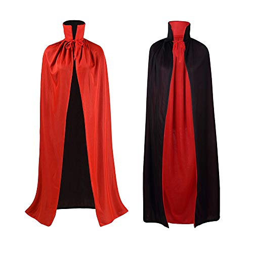 Zemolo Halloween Vampire Cloak Red and Black Cape Dracula Costume Adult Witches Cape Fancy Dress for Men and Women, 140CM