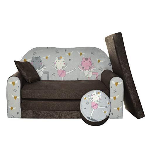FORTISLINE Kindersofa Kindercouch Aufklappen Bettfunktion + Hocker W319 Viele Muster (Kätzchen)