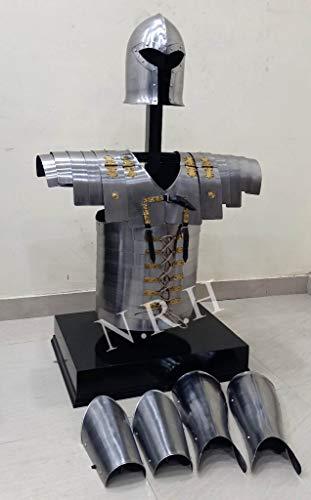 Nautische Replik Hub Mittelalter Arm & Beinschutz Barbuta Helm römische Lorica Segmentata Jacke Rüstung Kostüm Set