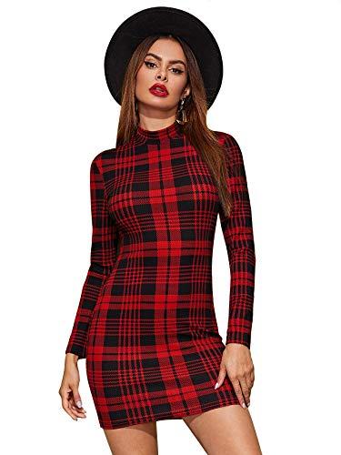 SheIn Women's Casual Long Sleeve Mock Neck Plaid Pencil Mini Party Bodycon Dress XLarge Burgundy Grid