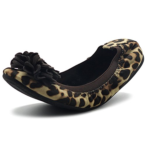 Ollio Women's Shoes Faux Suede Decorative Flower Slip On Comfort Light Ballet Flat ZY00F55 (6.5 B(M) US, Leopard)