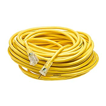 Yellow Jacket 2885 12/3 Heavy-Duty 15-Amp Premium SJTW Contractor Extension Cord with Lighted End Ideal use With Heavy Duty Equipment and Tools Durable Molded Plugs 100 Feet Yellow