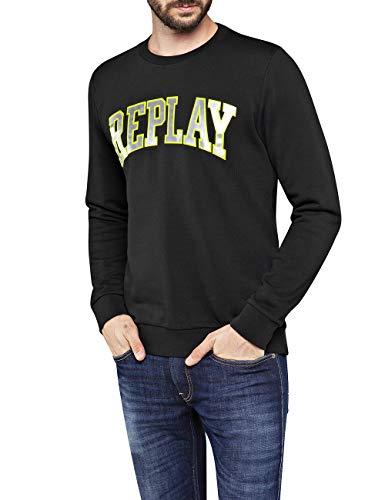 Replay Herren M3081 .000.21842 Sweatshirt, Schwarz (Black 98), Large (Herstellergröße: L)
