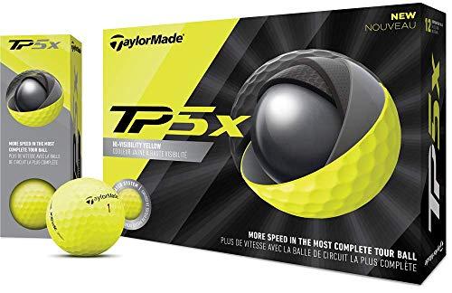 TaylorMade TP5x Golf Balls, Yellow (One Dozen)