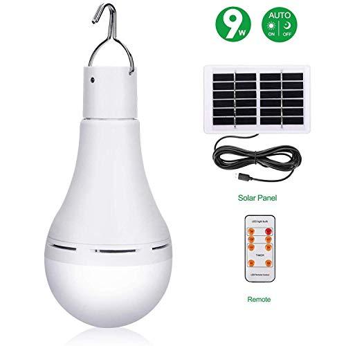 XXLYY Solar-Glühbirne, dimmbare Solarlampe Tragbare LED-Leuchte mit Fernbedienung, wiederaufladbare Solarpanel-Leuchten für den Innenbereich Außen-Outdoor-Wanderzelt Camping Nachtarbeitslicht