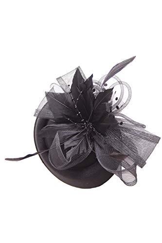 SugarShock Headpiece Damen Fascinator Hut Pillbox, Farbe:Schwarz, Größe:OneSize