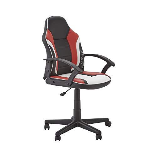 X-Rocker Saturn Esport Gaming-Stuhl mit mittleren Rückenlehnen für Junioren und Jugendliche, kompakter, bequemer PC-Drehstuhl, Schwarz/Rot/Weiß, Universal